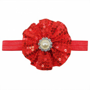 Rarelove Baby Girls Headband Red Flower Sequin Bead Rhinestone Hair Bands Accessories