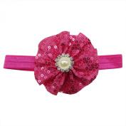 Rarelove Baby Girls Headband Rose Red Flower Sequin Bead Rhinestone Hair Bands Accessories