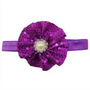 Rarelove Baby Girls Headband Purple Flower Sequin Bead Rhinestone Hair Bands Accessories