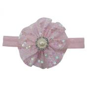 Rarelove Baby Girls Headband Pink Flower Sequin Bead Rhinestone Hair Bands Accessories