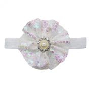 Rarelove Baby Girls Headband White Flower Sequin Bead Rhinestone Hair Bands Accessories