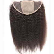 33cm x 10cm Kinky Straight Silk Base Closures Lace Frontal Brazilian Virgin Human Hair Silk Lace Front Closure 30cm Free Part With Baby Hair Bleached Knots Natural Colour