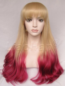 Liaohan® Fashion Long Wavy Ombre Wig Dip Dye Hair Wig Two Tone Synthetic Wigs for Women