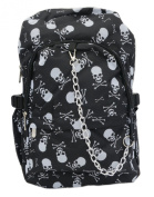 Black White Skull Cross Bones Pirate Backpack Rucksack School College Bag