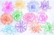 Roylco Flowers Rubbing Plate - 11cm x 17cm . - Set - 16