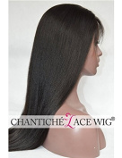 Chantiche® 5a Brazilian Remy Human Hair Wigs Light Yaki Straight Lace Front Wigs with Baby Hair 150% Density 41cm Natural Colour Medium Size Cap Medium Brown Lace