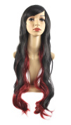 """Xiaoyu 28""""80cm Long Curly Black Gradient Red Synthetic Hair Cosplay Wigs"""