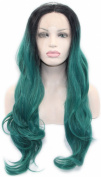Toptheway Wavy Long Synthetic Green Rooted Black Lace Front Women Wig