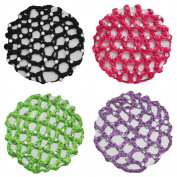 Crochet Bun Cover Snood Hair Net with 30 Crystal Rhinestones 4 pcs Colour Pack