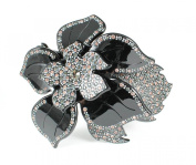 Hand Made Flower Austrian Rhinestone Hair Clamp Claw Clip Barrette Black C11955b