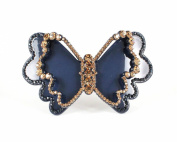 Chryse Butterfly Austrian Rhinestone Crystal Hair Clamp Clip Barrette C11960blue