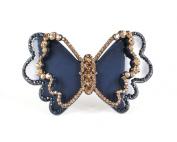 Chryse Butterfly Austrian Rhinestone Crystal Hair Clamp Clip Barrette C11960blue