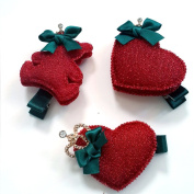 Girl Red Colour Little Cute Hair Clips Nice Gift for Christmas,new Year 3 Pcs +Free Top-ishop Cable Tie