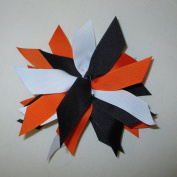 Sport Scrunchie, White, Orange and Black, Pkg of 5, Batch F, Made in the USA