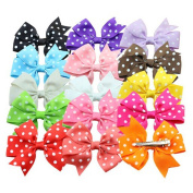 ABOEL Polka Dotted Hair Bows Girls Kids Alligator Clip Grosgrain Ribbon Hair Clips in 15 Different Colours