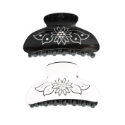 GSM Accessories 2PCS Beautiful Black White Sunflower Acrylic Crystal Rhinestone Hair Clamps Claws HC097X2