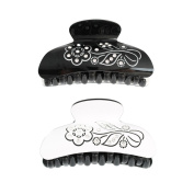 GSM Accessories 2PCS Elegant Black White Flower Acrylic Crystal Rhinestone Hair Clamps Claws HC095X2
