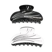 GSM Accessories 2PCS Elegant Black White Acrylic Crystal Rhinestone Hair Claws HC047X2