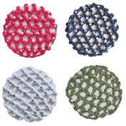 Crochet Bun Cover Snood Hair Net With 30 Rhinestones 4 Pcs Colour Pack