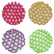 Crochet Bun Cover Hair Net With 30 Rhinestones 4 Pcs Colour Pack