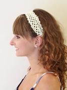 Fabulicious Ivory Crochet Elastic Headband - 3.8cm wide, tutu, princess, baby, girl, woman