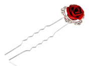 Contemporary Inspired Red Enamelled Rose Rhinestone Embellished Hair Pin