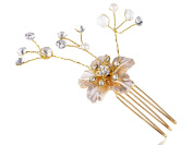 Vintage Inspired Single Flower Rhinestone Embellished Gold Metal Tone Hair Pin
