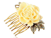 Gold Metal Tone Sculpted Yellow Rose Rhinestone Embellished Leaves Hair Pin