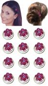 Dozen Pack Hair Twists with Crystal Flower Ornament 1.1cm in diameter NF83075-1htflr-Dfuchsia