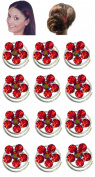 Dozen Pack Hair Twists with Crystal Flower Ornament 1.1cm in diameter NF83075-1htflr-Dred