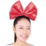 Sequin Christmas Bow Headband - Generic Women's Bling Big Bow Headbands Holiday Party Accessory