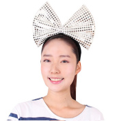 Sequin Christmas Bow Headband - Generic Women's Bling Big Bow Headbands Holiday Party Accessory