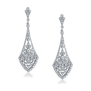 FiveStar Fabulous Xandra Art Deco Style Leaves Crystal Bridal Chandelier Earrings