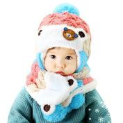 Datework Baby Useful 2 in 1 Cartoon Hats Baby Hats Hat Scarf Winter Autumn