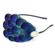 KISSPAT Natural Handmade Peacock Eyes Feather Headband, Premium Quality