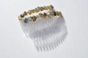 Labradorite Stones on a Hair Combs