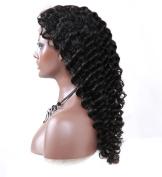 Nicetobuy Hair 36cm - 80cm Long Glueless Deep Wave Brazilian Human Hair Lace Front Wigs for Women 1b# Natural Black