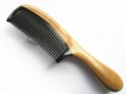 Myhsmooth Gb-yb-nt Handmade No Static Black Buffalo Horn Comb with Green Sandalwood Handle
