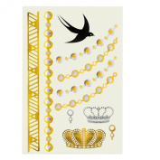 Theo & Cleo Metallic Temporary Tattoo Sticker, Crown and Bird