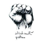 Yeeech Temporary Tattoo Sticker Fist Design Power Decides Eevrything Black Waterproof