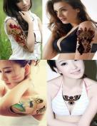Dalin 4 Sheets Temporary Tattoo, Floral Skull, Tribe Woman, Mermaid, Night Owl