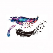 Waterproof Removal Body Art Colourful Feather Birds Tattoo Stickers