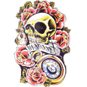 Cokohappy Large Temporary Tattoo,Red Rose Flower Skull Clock Tattoo,Sexy Body Art Long Lasting for Men Women