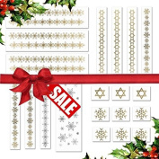 Holiday Jewellery Metallic Temporary Tattoos. Beautiful 20 Pack for All Celebrations!