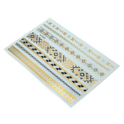 HSL Unisex Fashion Metalic Temporary Multi Pattern Tattoo Stickers-Abstract Image