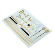 HSL Unisex Fashion Metalic Temporary Multi Pattern Tattoo Stickers-Arrow, Line