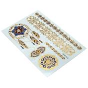 HSL Unisex Fashion Metalic Temporary Multi Pattern Tattoo Stickers-Flower, Feather