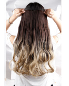 S-noilite® Ombre Dip-dye Colour Clip in Hair Extension 58cm Length Dark Brown to Ash Blonde Curly for Dreamlike Girls