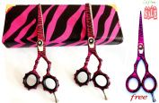 New Pink Zebra J2 High Quality Japanese Steel Professional Razor Edge Hairdressing Scissors and Hair Thinning Scissors/shear Set 5.5 Inch (14cm)+ Free Pink Zebra Barber Shear