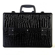 Super buy 36cm Pro Aluminium Makeup Train Case Jewellery Box Cosmetic Organiser Black Croc